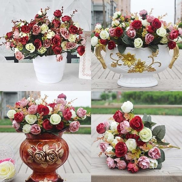 21 Head Artifical Plastic Rose Silk Flower Bouquet Wedding Office Home Decors