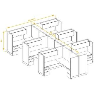 Modular Office Desk Furniture 67H 6pack Cluster Unpowered (6x6 - White Desk White Paint - Assembled)