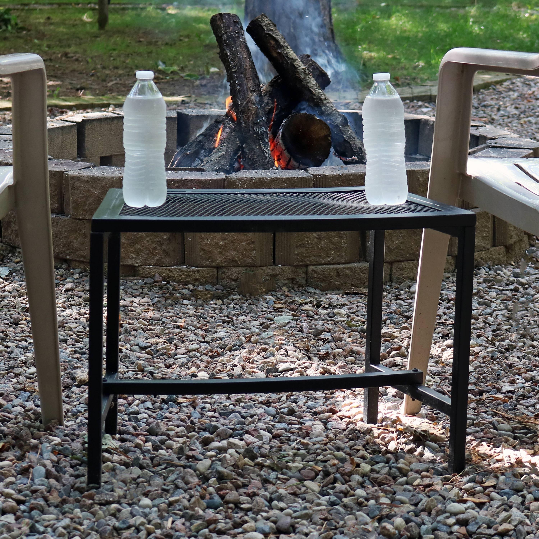 Sunnydaze Black Mesh Metal Patio Side Table 4 Tables 23 Inch X 16