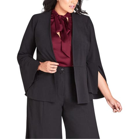 City Chic Womens Blazer Jacket Plus Flare Slit Sleeve