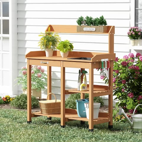 Outdoor Garden Potting Table Wooden Potting Tables Work Station Table