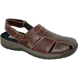 Drew Men's Barcelona Closed Toe Sandal Brown Pebbled Leather