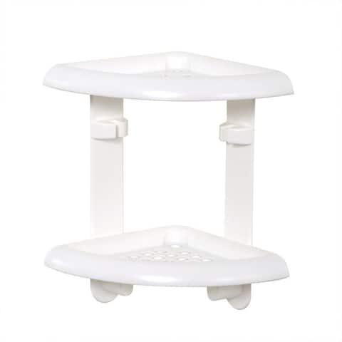 "Zenith 370W Shower Corner Shelf, Plastic, White, 11"" x 10.5"" x 7.1"""
