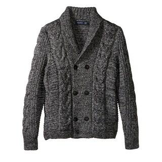 Nautica NEW Black Mens Size Large L Shawl-Collar Cardigan Knit Sweater