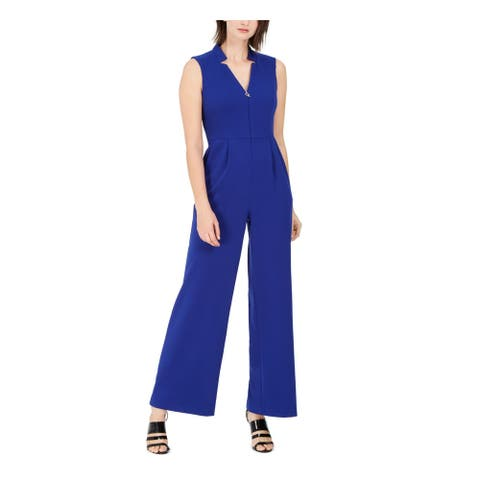 CALVIN KLEIN Blue Sleeveless Wide Leg Jumpsuit Size 8