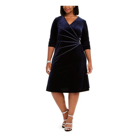 CONNECTED APPAREL Navy 3/4 Sleeve Knee Length Sheath Dress Size 16W
