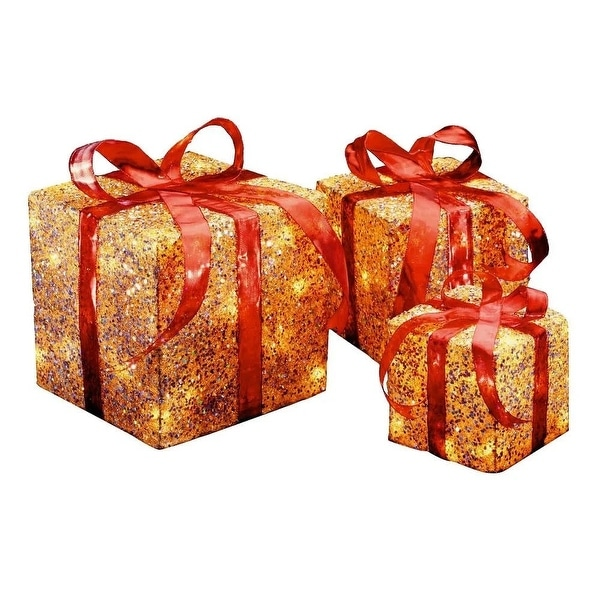 set of 3 red and gold colored christmas decorative gift boxes table toppers clear lights