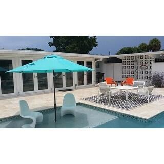 Safavieh Courtyard Contemporary Blue/ Bone Indoor/ Outdoor Rug - 9' x 12'