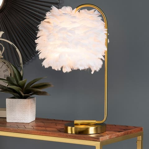 """Cecily 21""""H White Faux Feather & Gold Task Lamp - 21 x 12 x 12"""