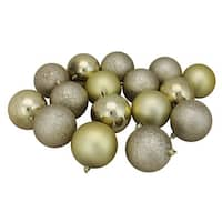 """16ct Champagne Gold Shatterproof 4-Finish Christmas Ball Ornaments 3"""" (75mm)"""