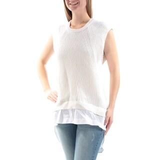 DKNY $298 Womens New 1022 Ivory Jewel Neck Cap Sleeve Tiered Sweater M B+B