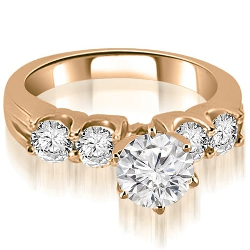 1.80 cttw. 14K Rose Gold Round Cut Diamond Engagement Ring