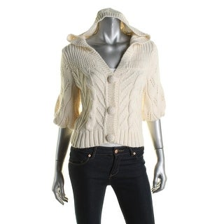 Guess Womens Hooded Sweater Alpaca Button-Front - S