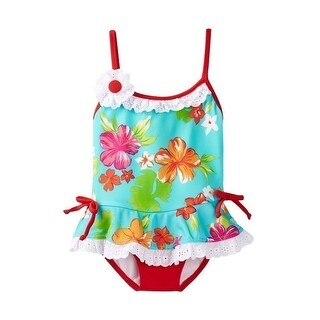 Azul Baby Girls Red Turquoise Totes Cute Skirted One Piece Swimsuit