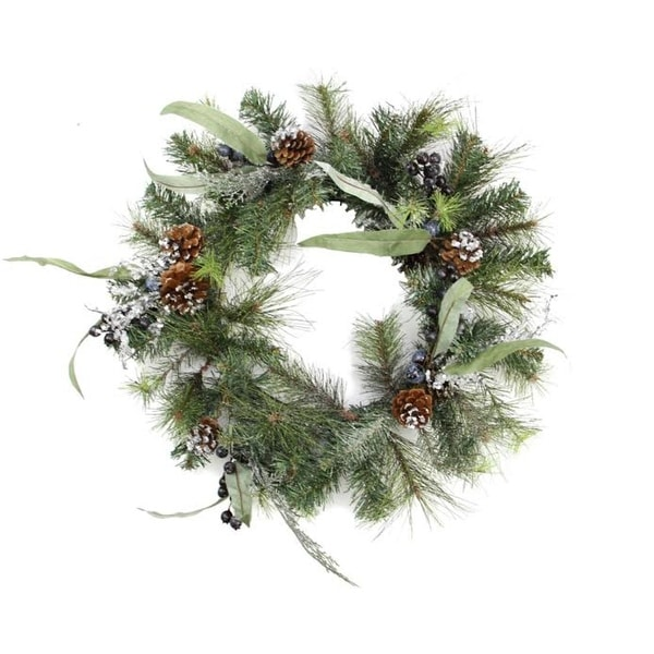 "24"" Artificial Mixed Pine with Blueberries, Pine Cones and Ice Twigs Christmas Wreath - Unlit"