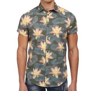 Armani Jeans NEW Green Mens Size 2XL Button Down Floral Shirt