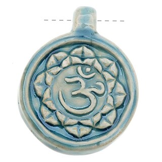 High Fire Ceramic Pendant - Aum Om Ohm Hindu Yoga 31x40mm (1)