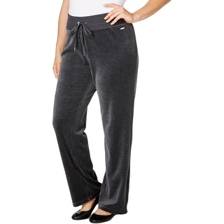 Calvin Klein Womens Plus Athletic Pants Velour Wide Leg