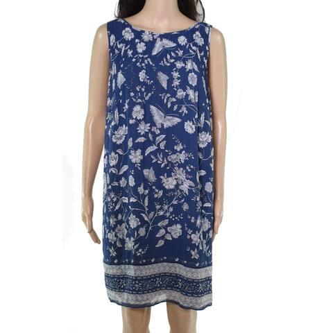 Max Studio Womens Shift Dress Blue Size Medium M Accordion Pleat