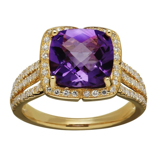 4 ct Natural Amethyst & 5/8 ct Diamond Ring in 14K Gold - Purple