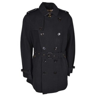 Burberry Brit Black Wool Britton Nova Check Lined Coat Jacket - XL