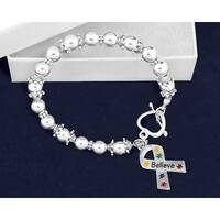 Believe Puzzle Piece Ribbon Beaded Bracelet for Mental Health Awareness