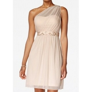 Adrianna Papell NEW Beige Womens Size 4 Tulle One-Shoulder Sheath Dress