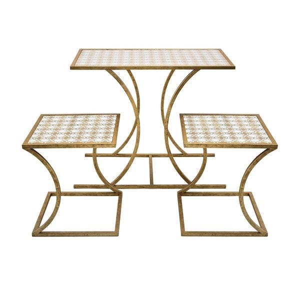 IMAX Home 78228-3 Abdi Three Piece Wood Top Iron Nesting Table Set - Gold