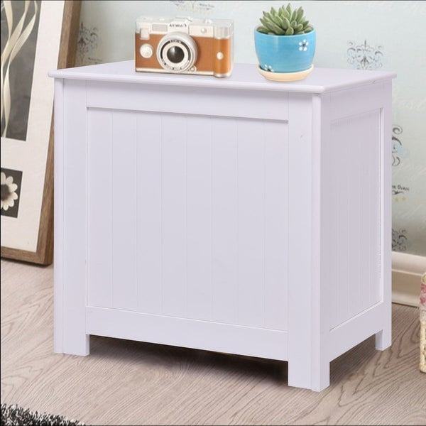 Costway White Wood Laundry Clothes Hamper Storage Basket Bin Organizer  Sorter Lid Decor