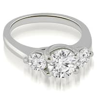 1.25 cttw. 14K White Gold Low Set Trellis 3-Stone Round Diamond Engagement Ring
