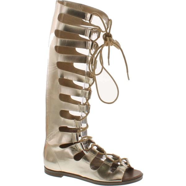 Breckelles Rita-71 Women Metallic Gilly Tie Peep Toe Knee High Gladiator Sandal - Gold