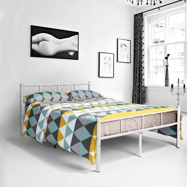 shop twin full size metal bed frame platform bedroom furniture with headboard storage white. Black Bedroom Furniture Sets. Home Design Ideas