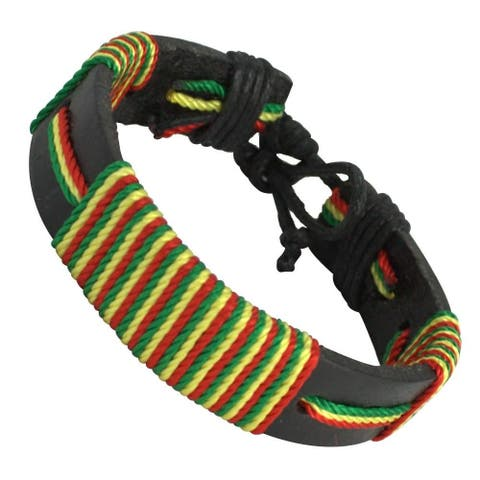 Black Leather Threaded Rasta Bracelet