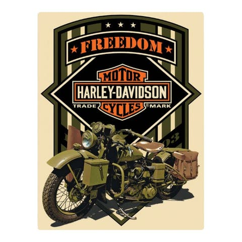 """Harley-Davidson Freedom Green Military Embossed Tin Sign, 13 x 17 inches 2011351 - 13"""" x 17"""""""