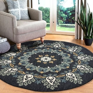 Link to LR Home Hand Tufted  Dazzle Charcoal/ Teal Wool Rug Similar Items in Transitional Rugs