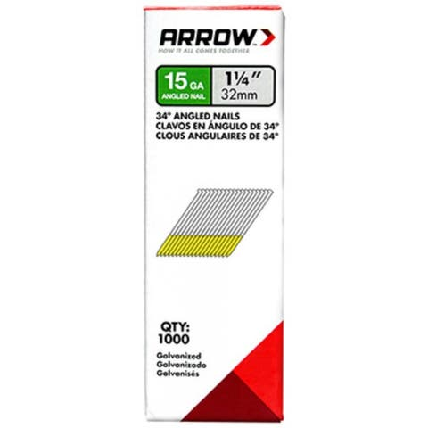 "Arrow Fastener 15G32-1K Galvanized 34-Degree Angled Nails, 1-1/4"", 1000-Pack"