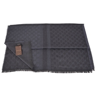 Gucci 282390 Large Blue Black Wool Silk GG Guccissima Logo Scarf Shawl