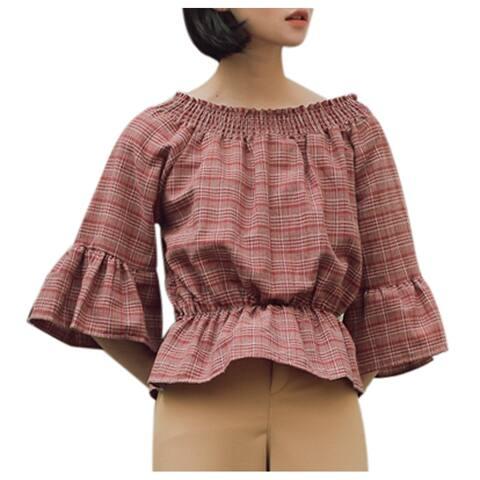 QZUnique Women's Summer Blouse Horizontal Neck Loose Cotton Ruffled Shirt Half Sleeve Off-the-shoulder Tops