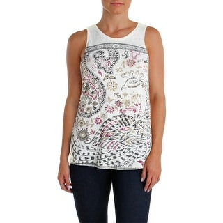 Lucky Brand Womens Jersey Paisley Casual Top