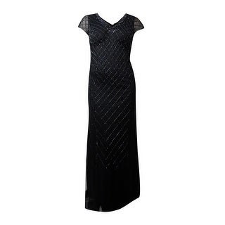 Adrianna Papell Women's Lattice Bead V-Neck Mesh Gown - 14W