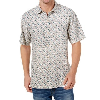 Tommy Bahama Ivory Mens Large Geo Button Down Shirt Silk