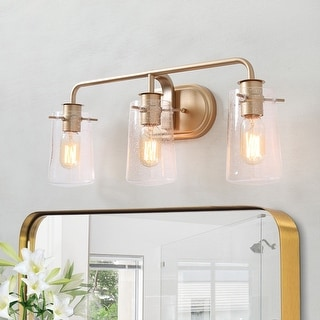 "Link to Glam 3-lights Wall Bathroom Vanity Lighting Golden Wall Sconce for Powder Room - 23.6"" * 7.1"" * 9.8"" Similar Items in Sconces"