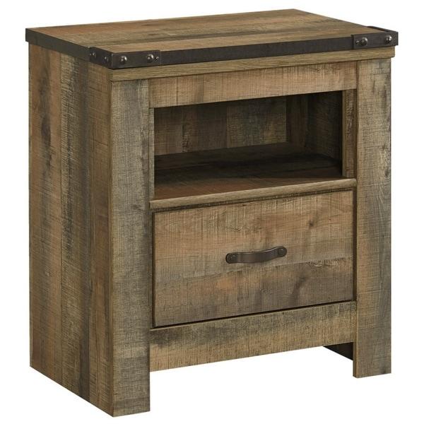 Ashley Furniture B446-91 Brown Trinell One Drawer Night Stand w/ Rustic Finish