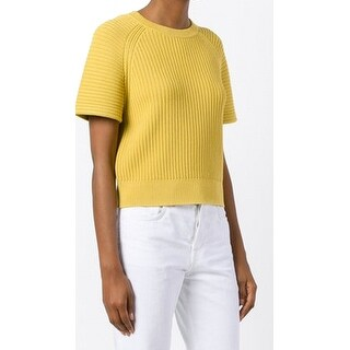 Theory NEW Yellow Womens Size P Petite Raglan Ribbed Knitted Sweater