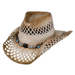Outback Trading Hat Womens Mesquite Straw Lattice Beads Tea 15065