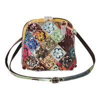 Women's Leather Purse - Patchwork & Floral Appliques Cross-Body Bag - MEDIUM