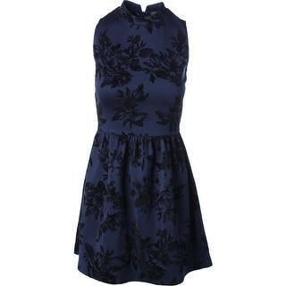Aqua Womens Juniors Flocked Neoprene Party Dress