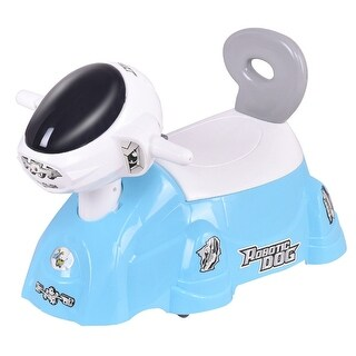 Gymax Kids Baby Potty Training Toilet Trainer Seat with Music Slide Function Blue DogGymax