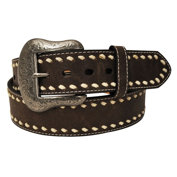 G-BAR-D Western Belt Mens Buck Stitch Brown