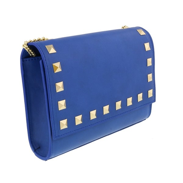 Scheilan Electric Blue Leather Studded Flap Shoulder Bag - 8.5-6-2.5